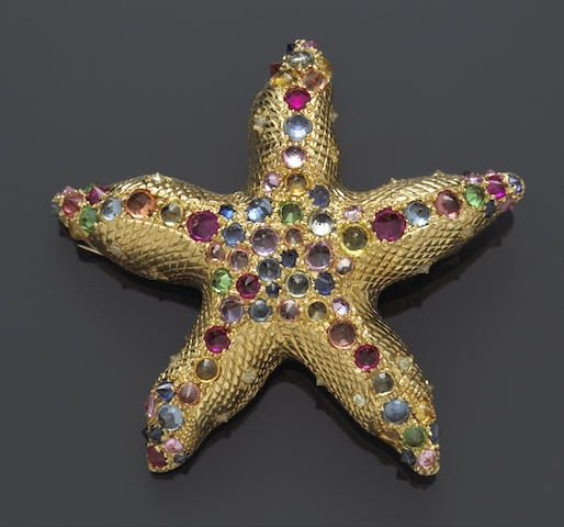 A multi-color sapphire, ruby tsavorite garnet and diamond starfish brooch, Nardi, Italy