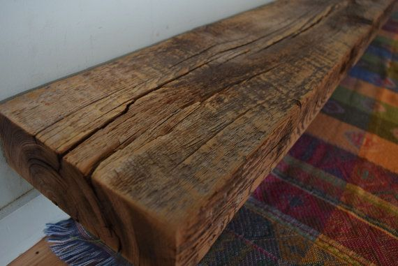 "Reclaimed Fireplace Mantel Shelf 85"" x 8"" x 3"" - Barn Beam Wood Mantle Antique 1700s 1800s Barnwood Rustic Distressed"