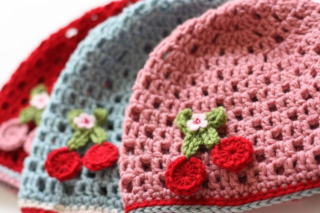 Cherry Heart: A Week of Cherries..cutest hat  Thinking this is the pattern for cherries on the potholders I've pinned.  Very cute!