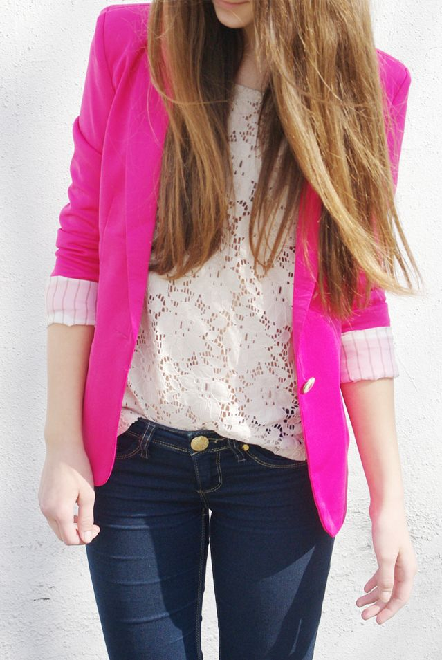 Like pink blazer over white patterned shirt