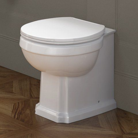 Victoria II Traditional Back To Wall Toilet - White Seat