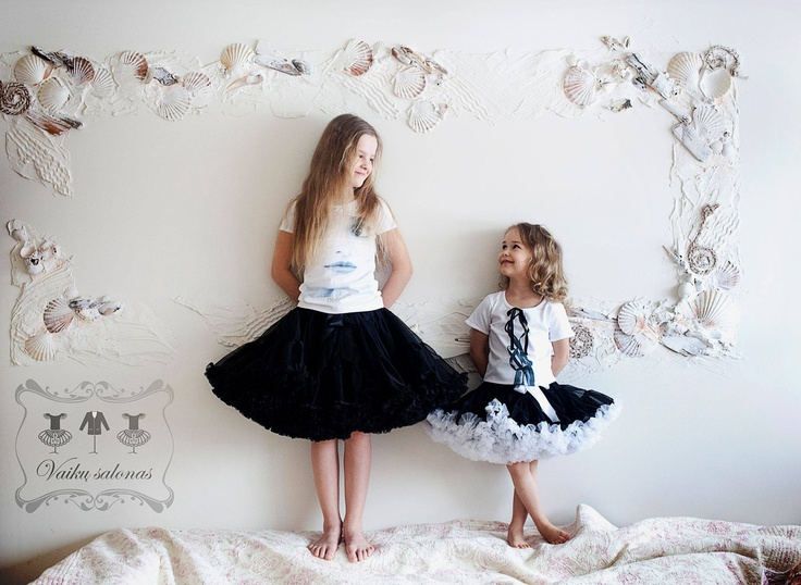 so cute - small and big girls wearing DOLLY skirts Black beauty and Audrey Hepburn