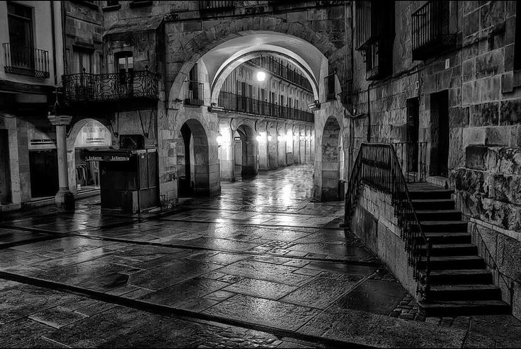 Salamanca in the night b&N by Isidoro M