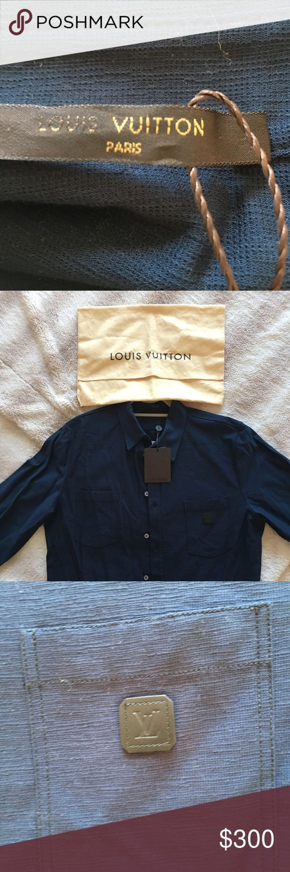 Mens shirt Brand new never worn with tags attached and dust bag navy blue Louis Vuitton men's shirt Louis Vuitton Shirts Casual Button Down Shirts