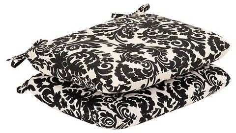 Pillow Perfect 2-Piece Outdoor Seat Pad/Dining/Bistro Cushion Set - Black/White Floral