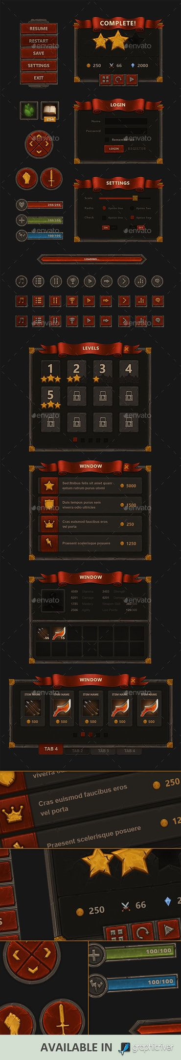 Fantasy Mobile Game Interface - http://graphicriver.net/item/fantasy-mobile-game-interface/9009432?WT.ac=portfolio&WT.z_author=KEvil                                                                                                                                                                                 More