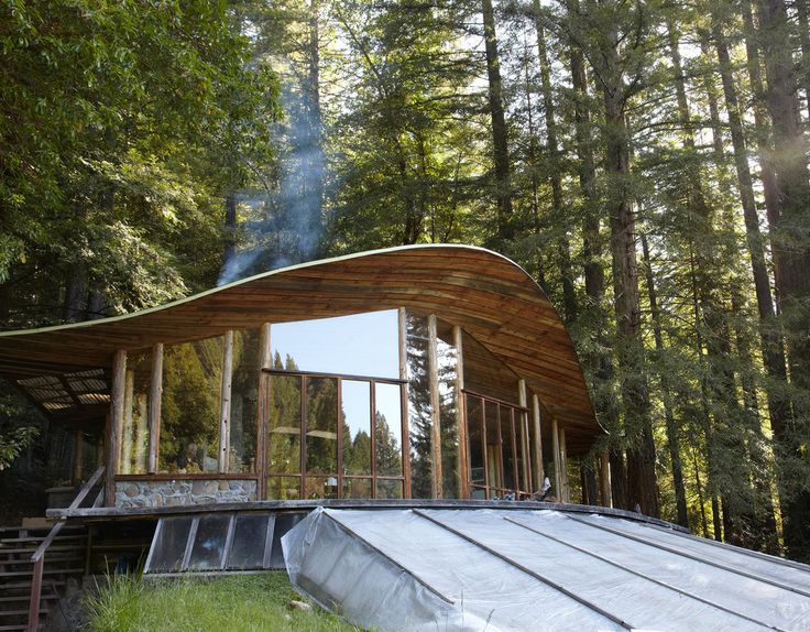 """""""Charles Bello has spent the last 40 years handbuilding a succession of homes with timber cut and milled from his 400 acres in Northern California."""""""