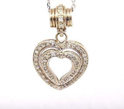 Vintage 14k White Gold Si1-Si2, H-I,0.91tcw Diamond Double Heart Necklace