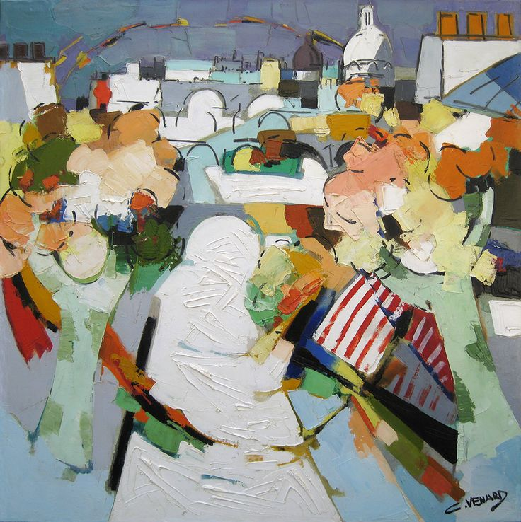 'La Seine' by Claude Venard, oil on canvas: 100 x 100 cm, signed.