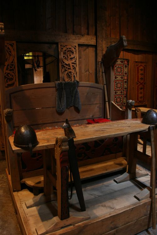 Lofotr Viking Museum, Norway, interior of a reconstructed Viking hall.