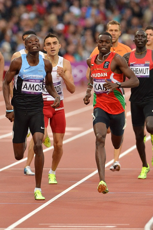 LONDON, ENGLAND - AUGUST 7, Nijel Amos of Botswana in the mens 800m semi final during the evening session of athletics at the Olympic Stadium  on August 7, 2012 in London, England.Photo by Roger Sedres / Gallo Images