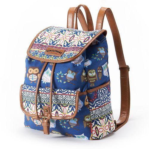Unionbay Floral Stripe Owl Backpack Pinned by www.myowlbarn.com