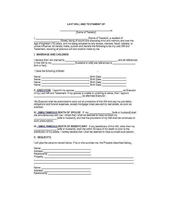 Free Printable Will Template Elegant 39 Last Will And Testament Forms Templates Template Last Will And Testament Will And Testament Templates Printable Free