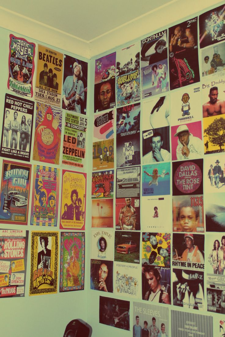Bedroom wall with posters - Records On The Wall
