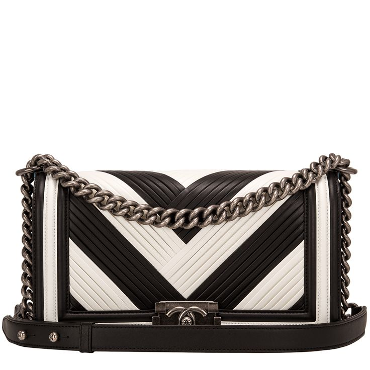 #Chanel Paris In Rome Black and White Pleated Calfskin Medium Boy #Bag