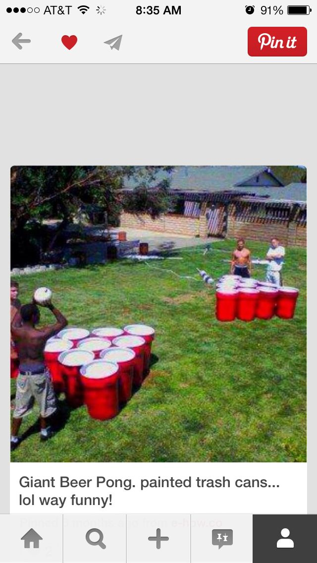 Giant beer pong out of garbage cans painted to look like solo cups!!! Would be AWSOME for a BBQ game!!!