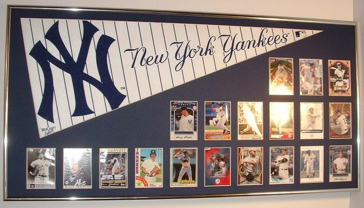 New York Yankees Baseball Pennant & Cards Retrospective.....Custom Framed!!! by FanaticFrames on Etsy https://www.etsy.com/listing/497225137/new-york-yankees-baseball-pennant-cards