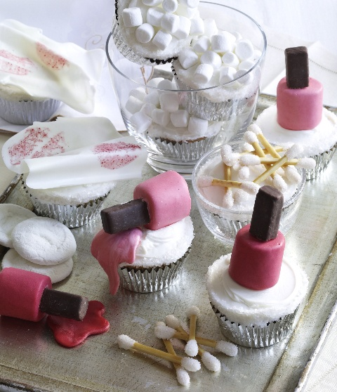 Vanity Table Cupcakes - with marshmallow nail polish bottles and a whole host of edible 'makeup', these are just too cute :D