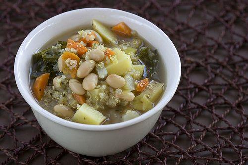 Vegan quinoa, kale and white bean soup.