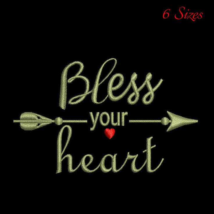 Bless your heart embroidery design,love design,pattern,holidays,winter,heart by GretaembroideryShop on Etsy