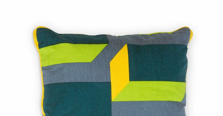 Verdon Cushion 45 x 45cm, Teal and Yellow Mix
