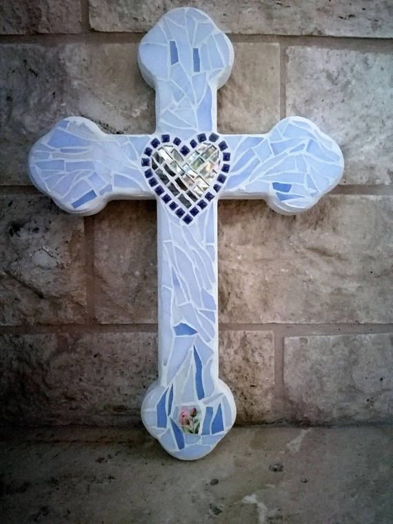 Blue decorative mosaic cross Mosaic wall hanging cross with a