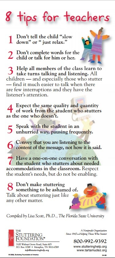 8 Tips For Teachers from the Stuttering Foundation