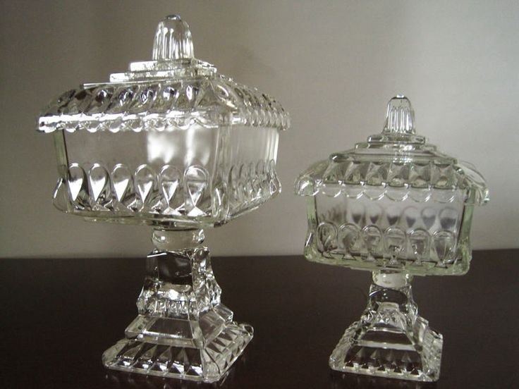 Glass wedding box pedestal square candy dish with