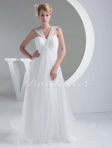 A-line Straps Chapel Train Sleeveless Tulle Wedding Dress - $179.99