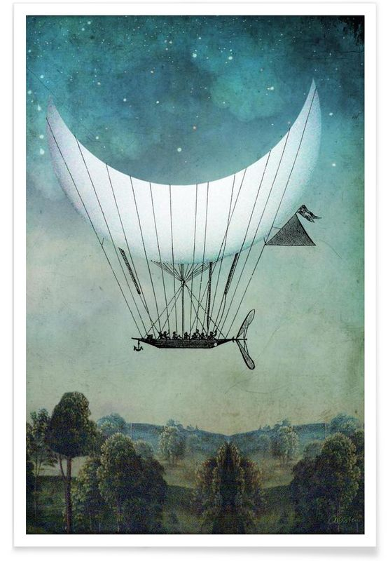 The Moon Ship as Premium Poster by Catrin Welz-Stein | JUNIQE