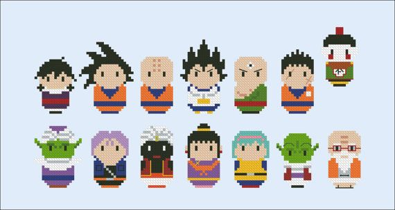 Dragon Ball Z parody Cross stitch PDF pattern por cloudsfactory