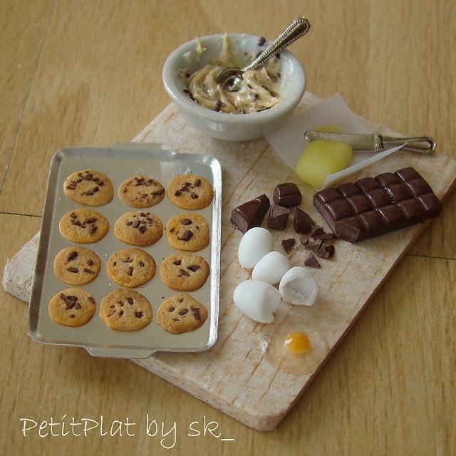 Miniature food for Dollhouse - Cookie Preparation Board! by PetitPlat - Stephanie Kilgast, via Flickr