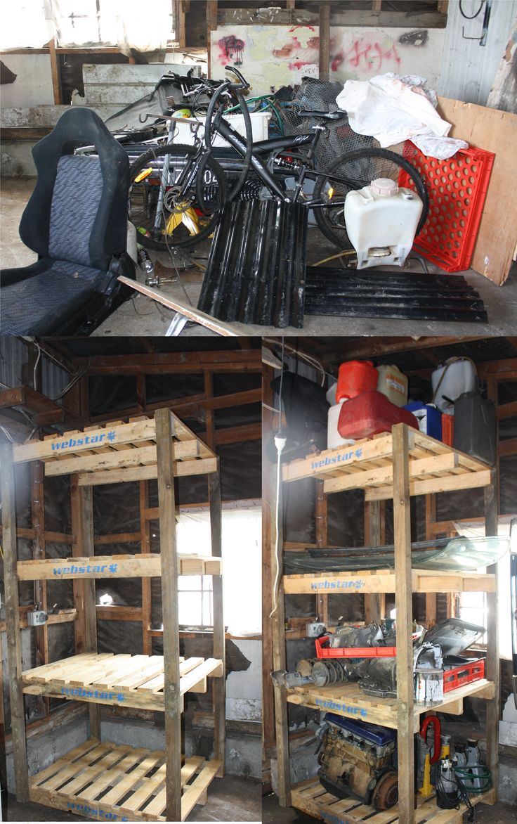 I got sick of the mess on the floor in my husbands garage, so I built him some shelves.