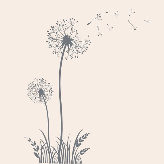 Dandelion Vinyl Wall Decal Flower Decal por TheDecalGirl en Etsy