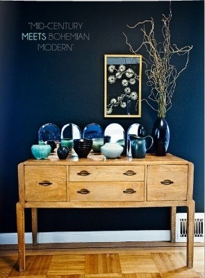 Love The Vintage Sideboard, Navy Walls, And The Collection Of The Glassware  In Gradients Of Blue.