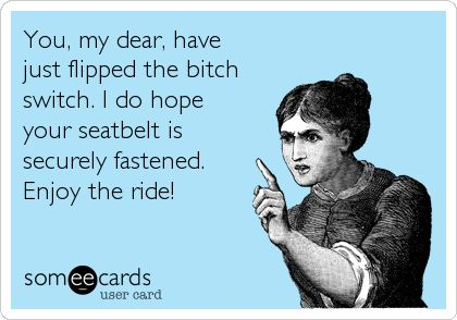 Not ashamed to be called a BITCH, I am proud of it.  It means I WILL NOT allow you to walk over me, I WILL NOT put up with your hypocrisy.   You, my dear, have just flipped the bitch switch. I do hope your seatbelt is securely fastened. Enjoy the ride!