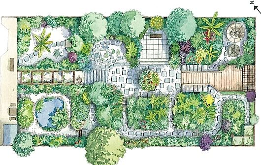 Plan for small garden (illustration by Liz Pepperell) with many nooks and crannies for different moods.