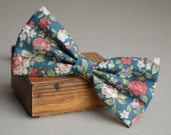 Peacock blue rustic bow tie floral bow tie groom necktie cotton print bow tie