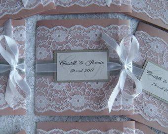 Invitation de mariage rustique, faire-part de mariage blanc, gris faire-part de mariage, Invitations de mariage vieux Rose