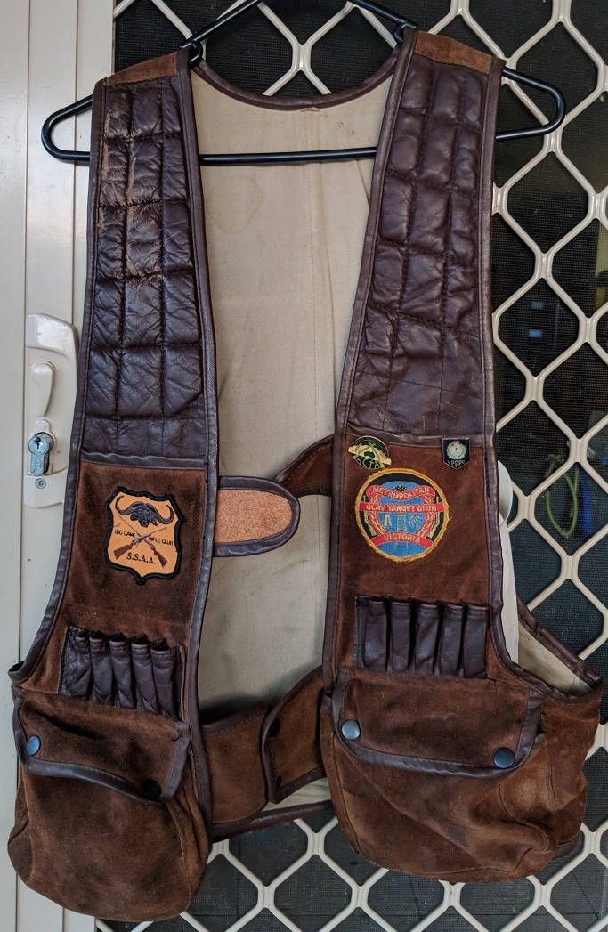 Vintage shooting vest,leather and suede, hunting jacket with badges  or a great man cave display piece, FREE POSTAGE  worldwide by PastRecollection on Etsy