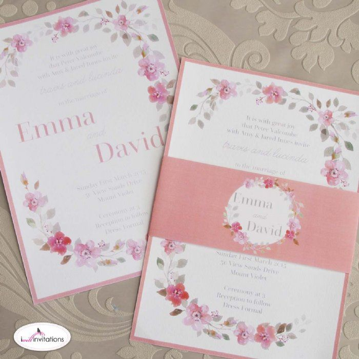 Impulse Wedding Invitations by I Will Invitations.  These gorgeous peach watercolour blossoms are simply stunning.  #weddinginvitations #weddinginvitation #weddingcard #floralweddinginvitations