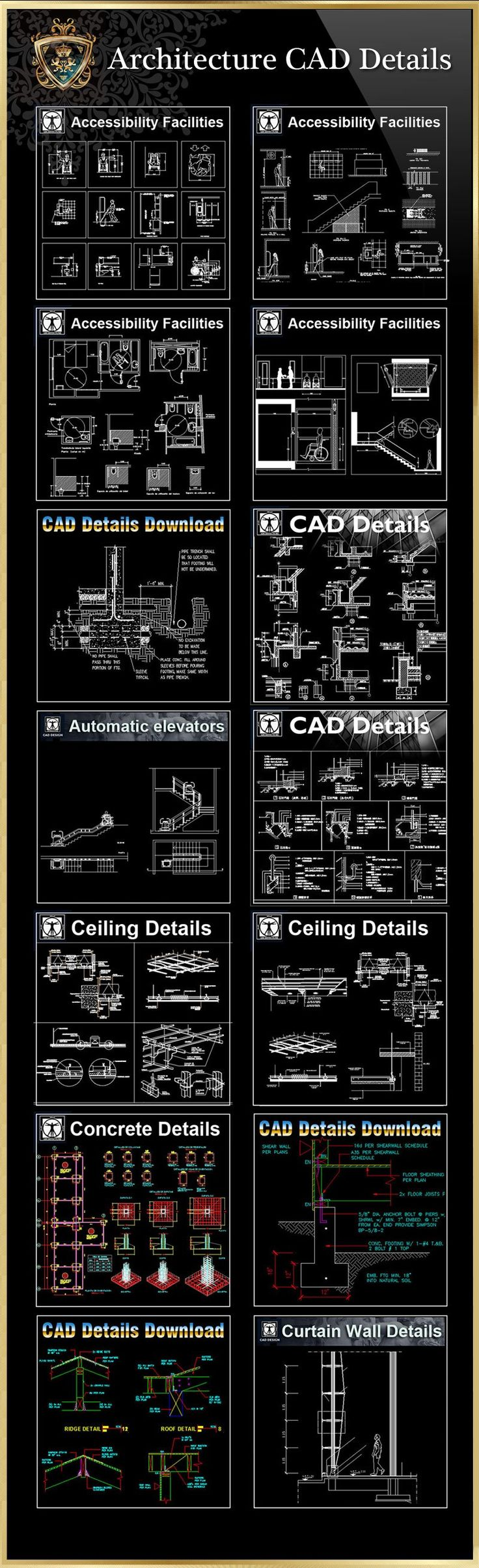 【All 40 Architecture CAD Details Collections】 (Total 40 Best Collections) | Free Cad Blocks & Drawings Download Center