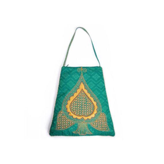 Bindi verde in rilievo Zoebe borsetta  tessuto Sari di Zoebe