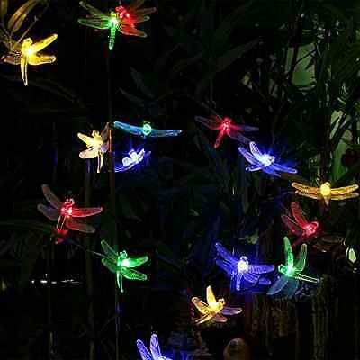 164 feet 20 led solar powered dragonfly fairy lights for christmas garden patio outdoor garden