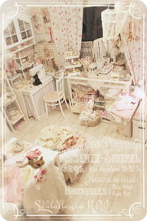 Amazing shabby chic craft room / studio in creams and ...