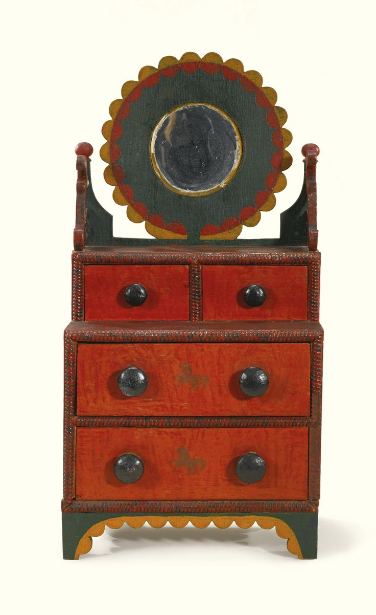 There is a dressing table mirror and lockers and drawersgalore - Miniature Dressing Bureau C 1875