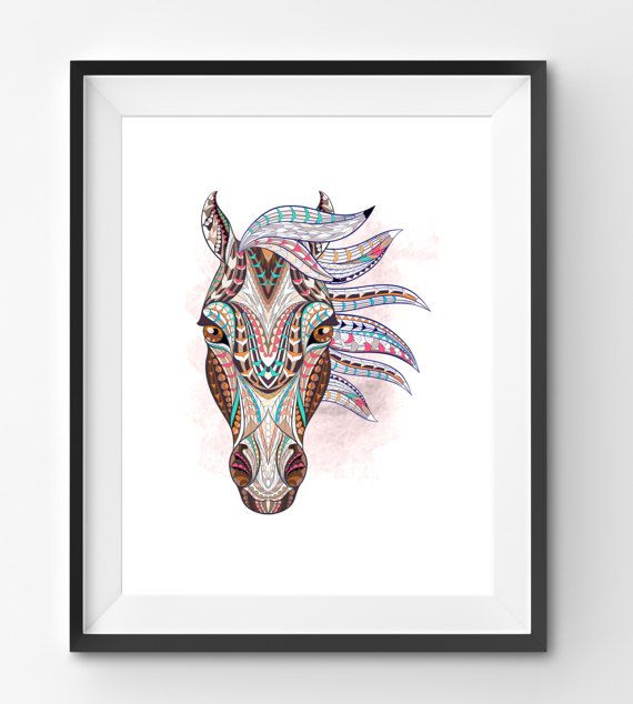 Colorful Horse Art Horse Wall Art Mosaic Horse Print Animal