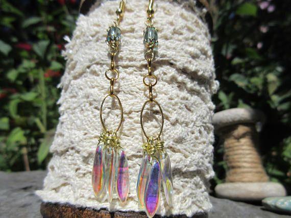 Dangling earrings Long earrings three dangling earrings