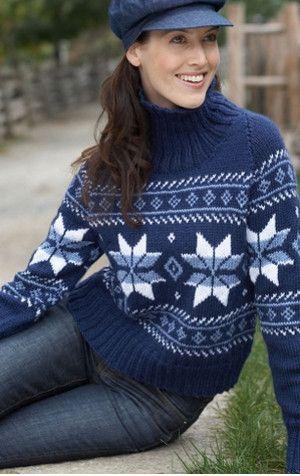 Falling Snowflakes Sweater | AllFreeKnitting.com