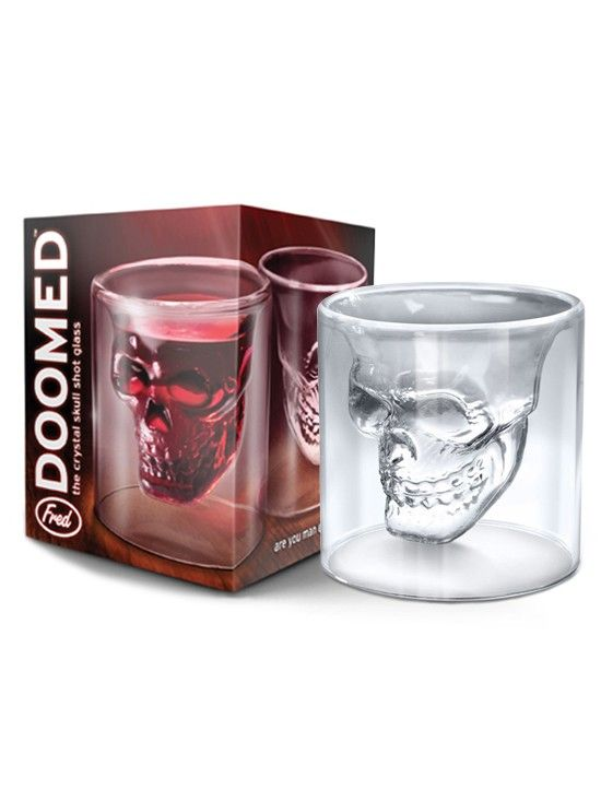 'Til death do us party, so let's get it started with the Doomed Skull Shot Glass. #InkedShop #shot #skull #party #gift #glass #homegoods #bar #kitchen #college #cool